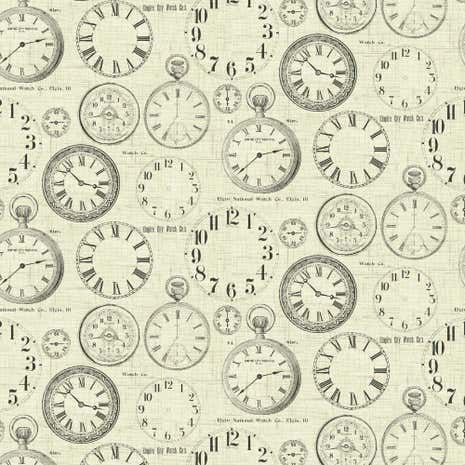 Vintage Clocks Fabric