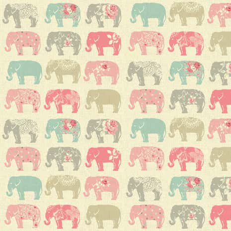 Pastel Elephants Patterned Fabric