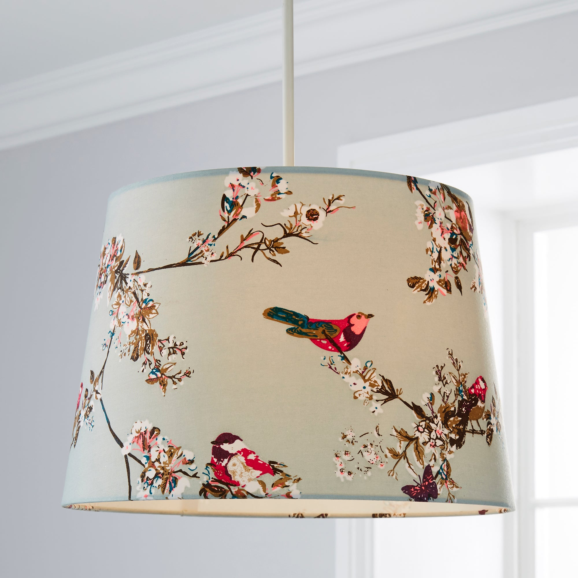 Dunelm Wall Lamp Shades : Beautiful Birds Duck-Egg Ceiling Light Shade Dunelm