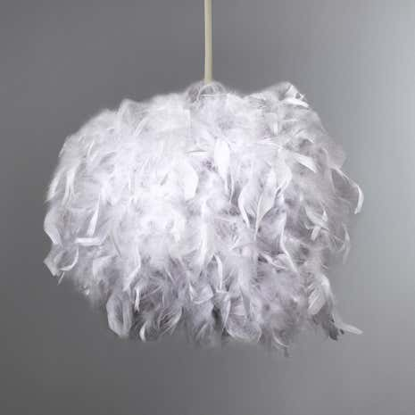 Lamp shades decorative light shades dunelm white feather chloe sphere pendant mozeypictures Image collections