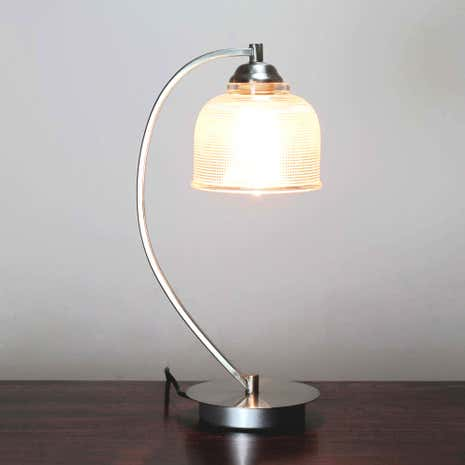 Hotel Cross Hatch Glass Table Lamp