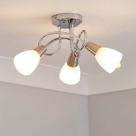 3-Light Chrome Ceiling Fitting