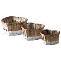 Set of 3 Two Tone Heart Baskets
