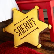 Kids Cowboys and Indians Sheriff Badge Cushion