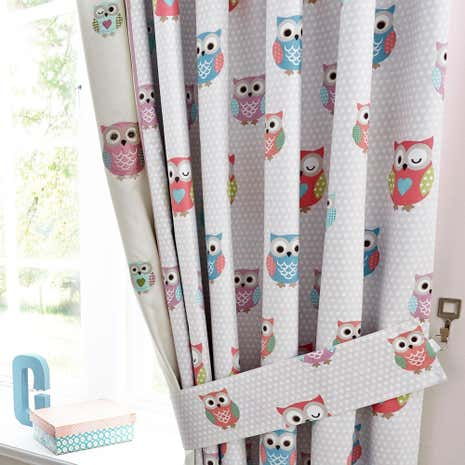 Pretty Owls Blackout Pencil Pleat Curtains Dunelm