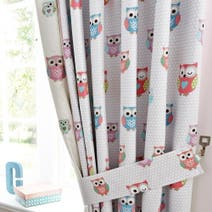 Kids Pretty Owls Blackout Pencil Pleat Curtains