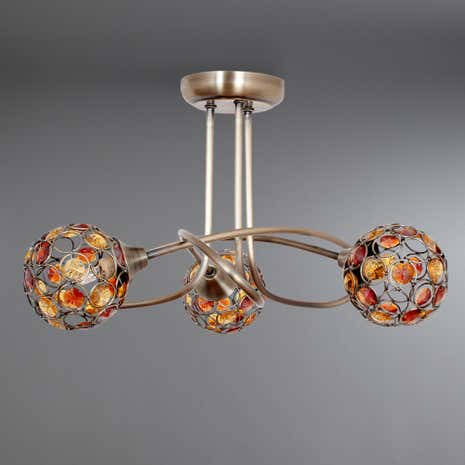 Amber Sphere 3 Light Ceiling Fitting