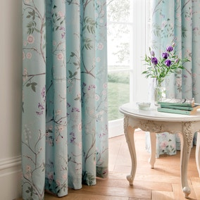 Dorma Maiya Duck Egg Lined Pencil Pleat Curtains