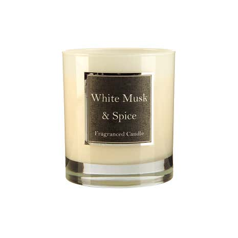 White Musk and Spice Scented Candle Jar