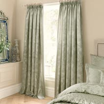 Dorma Green Osterley Lined Pencil Pleat Curtains
