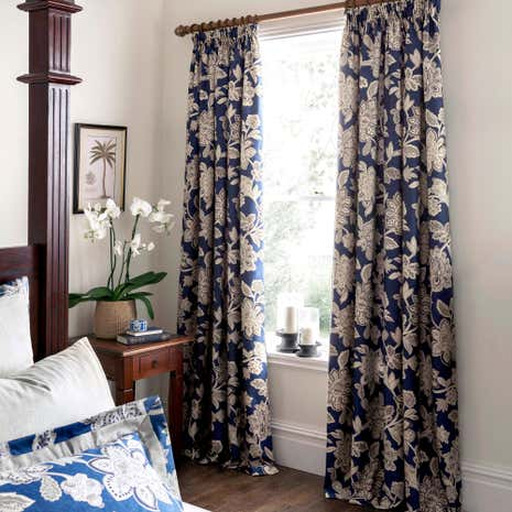 Dorma Samira Blue Lined Pencil Pleat Curtains