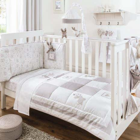 Dorma Bunny Meadow White Nursery Coverlet and Bumper Set