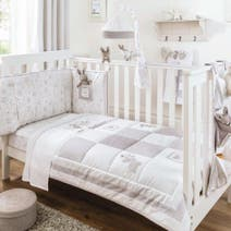 Dorma White Bunny Meadow Nursery Coverlet and Bumper Set