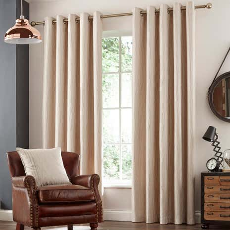 Savannah Natural Lined Eyelet Curtains