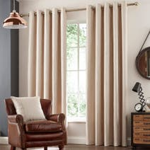 Natural Savannah Lined Eyelet Curtains