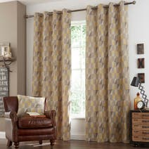 Ochre Revival Lined Eyelet Curtains
