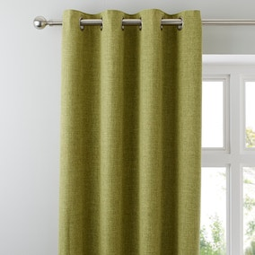 Vermont Green Lined Eyelet Curtains