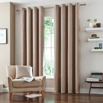 Natural Vermont Lined Eyelet Curtains