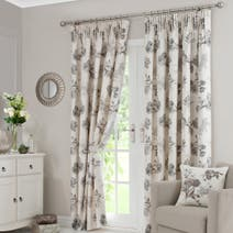 Natural Tulip Lined Pencil Pleat Curtains