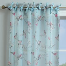 Beautiful Birds Duck-Egg Voile Panel