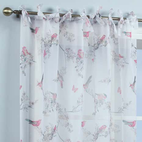 Beautiful Birds White Voile Panel
