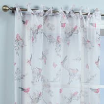 White Beautiful Birds Voile Panel