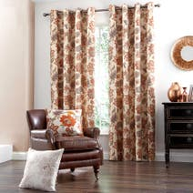 Natural Jacobean Lined Eyelet Curtains