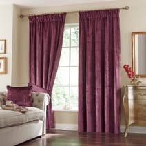 Plum Monroe Lined Pencil Pleat Curtains