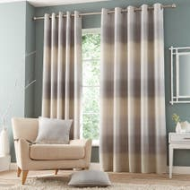 Grey Waves Lined Eyelet Curtains