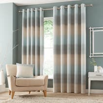 Duck Egg Waves Lined Eyelet Curtains