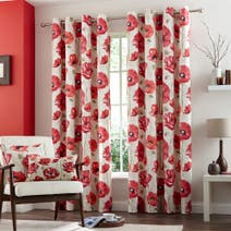 Red Painterly Poppy Lined Eyelet Curtains