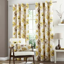 Yellow Painterly Poppy Lined Eyelet Curtains