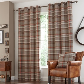 Hoxton Rust Lined Eyelet Curtains