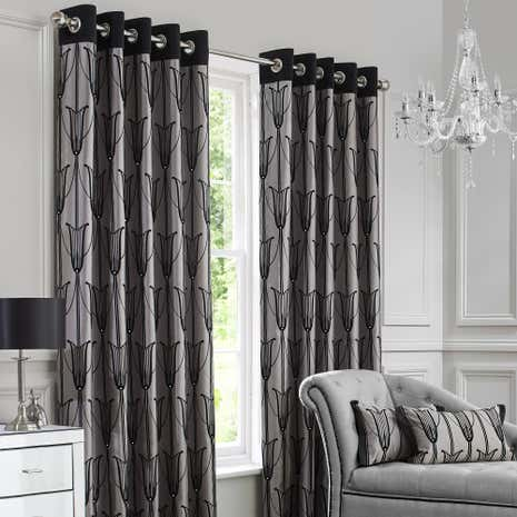 Charleston Black Lined Eyelet Curtains