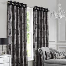 Black Charleston Lined Eyelet Curtains