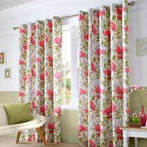 Pink Poppyfields Lined Eyelet Curtains