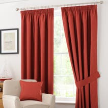Rust Solar Blackout Pencil Pleat Curtains