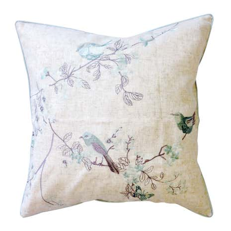 Beautiful Birds Duck-Egg Cushion