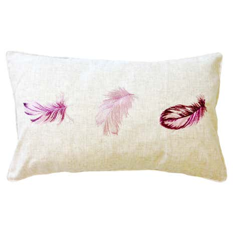 Embroidered Feathers Boudoir Cushion