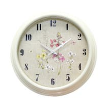 Cream Botanical Wall Clock