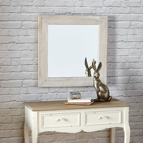 White Wooden Hanging Mirror