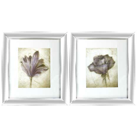 Pair of Plum Floral Plaques