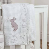 Dorma White Bunny Meadow Nursery Pram Blanket