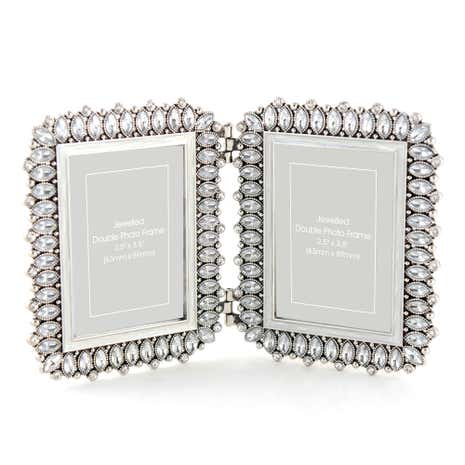 Silver Jewelled Double Photo Frame