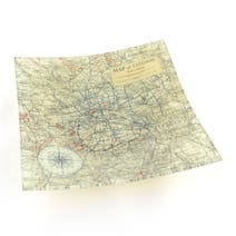 Glass Plate with Map Print