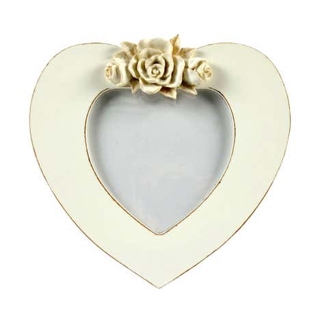 Cream Heart Shaped Photo Frame with Roses