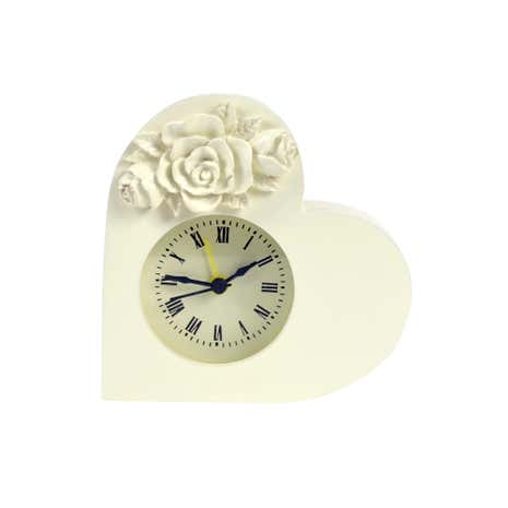 Cream Heart Shaped Clock with Roses