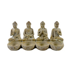 Four Sitting Buddhas Tealight Holder