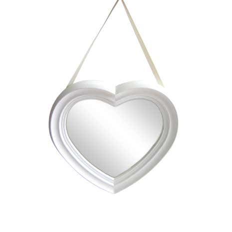 White Heart Shaped Hanging Mirror