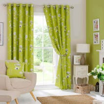 Green Darwin Lined Eyelet Curtains